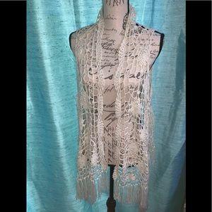 Crochet vest with Fringe from Ashley Stewart